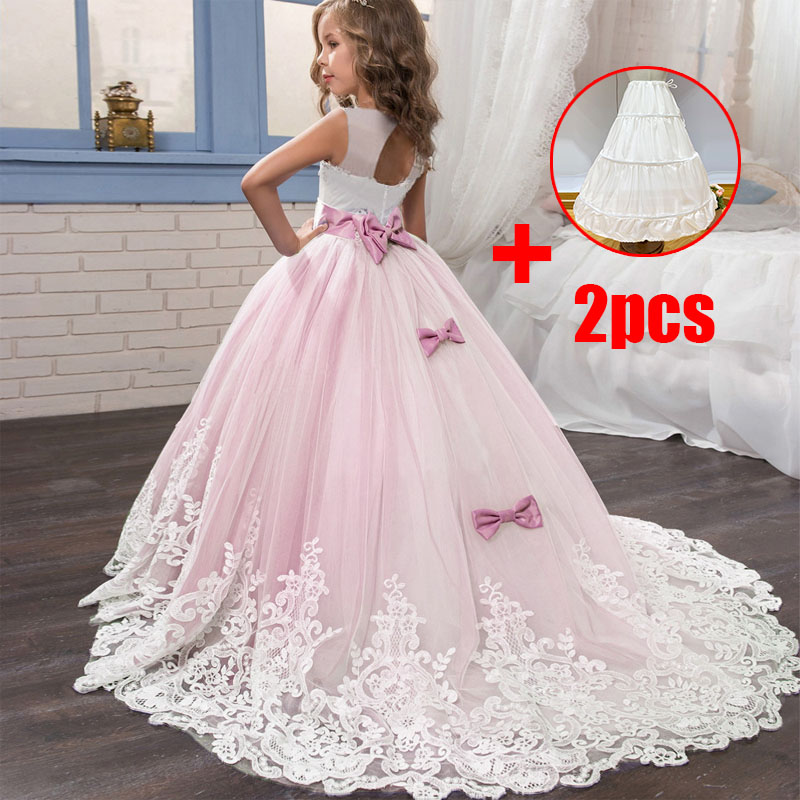 Flower Long Tail Lace Girl Dresses Bridesmaid Dresses Elegant Ball Gown Evening Dress First Communion Dresses Vestido Comunion