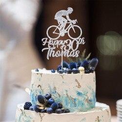 Персонализированный Топпер для торта на день рождения с именем велосипеда и возрастом/велосипед, украшение для велосипедивечерние/18, 21, 30, 40...