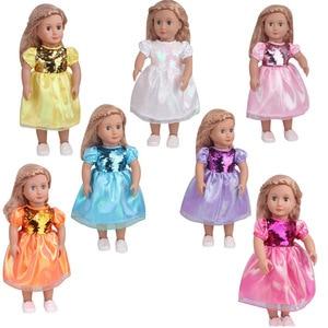 10 unids/lote de ropa y vestidos para muñecas de encaje rosa de lentejuelas para muñeca americana de 18 pulgadas, muñeca de 43cm, el mejor regalo de cumpleaños para niños