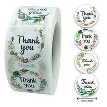 1 polegada 4 design flores obrigado adesivos redondos scrapbook embalagem selagem etiquetas de papelaria adesivos 50 folhas por rolo