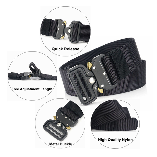 Tactical Army Belt Outdoor Nylon Waist Belts with Automatic Metal Buckle Hook Accessories for Hunting Police Duty Men Military 4
