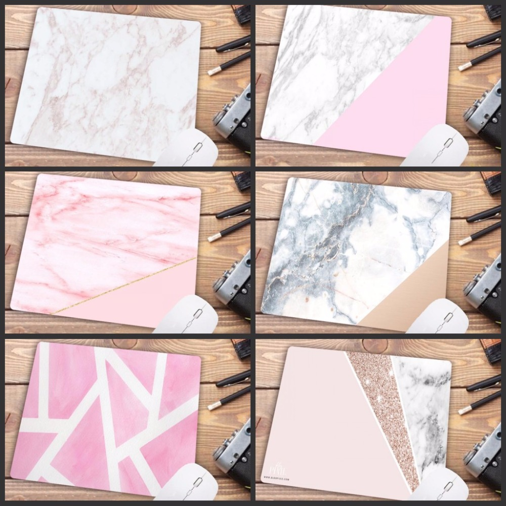 Big Promotion Russia White Pink Gold Marble Gaming Mice Mat Mouse Pad PC Computer Office Pad Size For 180x220x2mm Mouse-pad