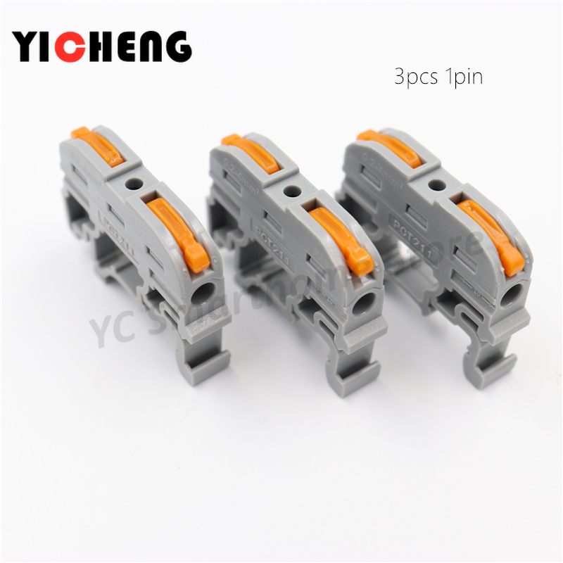 3pcs Rail Type Quick Connection Terminal Press Connector Instead Of UK2.5B Block