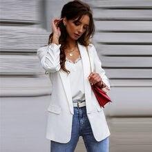 النساء 2020 موضة مكتب ارتداء الأساسية السترة معطف Vintage طويلة الأكمام الإناث ملابس خارجية أنيقة بلوزات أنيقة حجم كبير السترة S-2XL