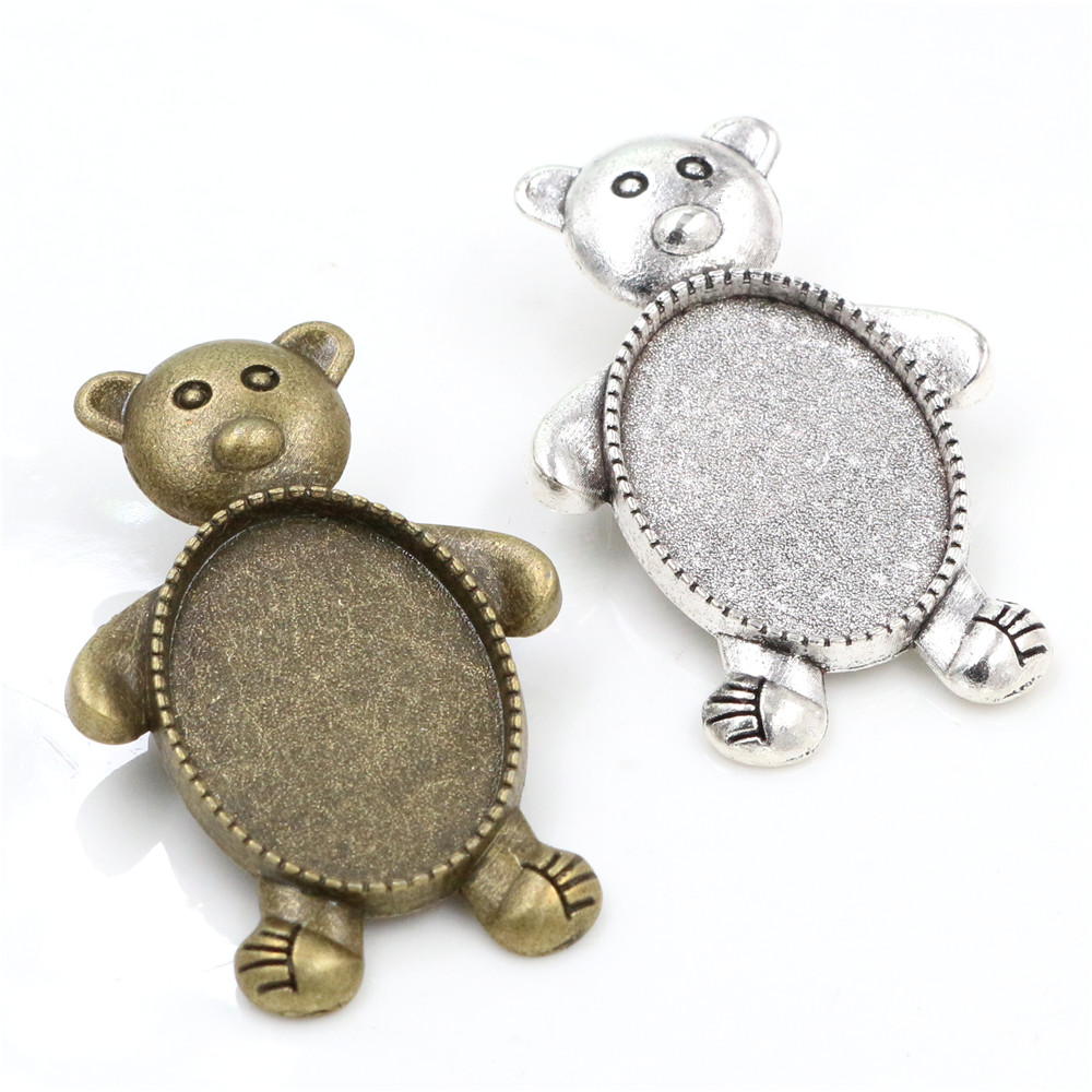 3pcs 18x25mm Inner Size Antique Silver Plated And Bronze Colors Plated Brooch Pin Bear Style Cameo Cabochon Base Setting