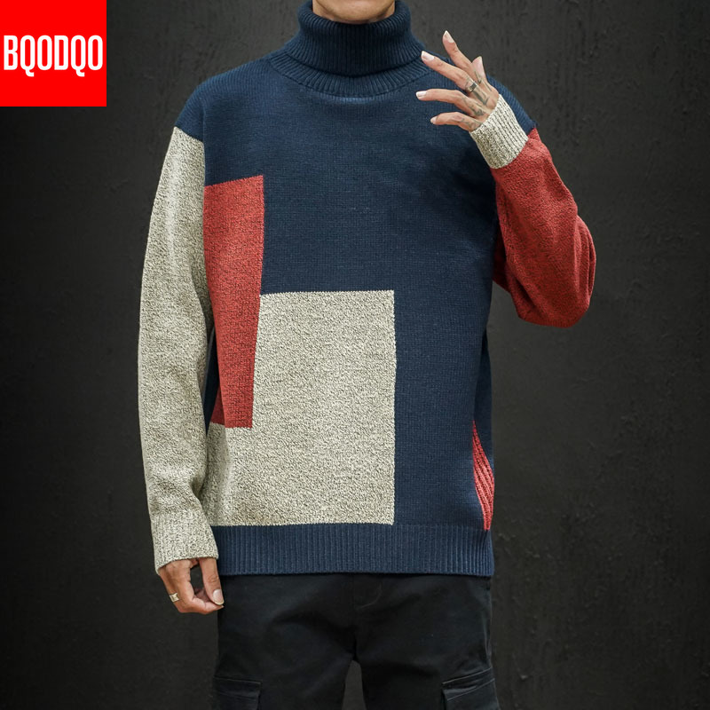Loose Knit Designer Sweater Winter Men 5XL Turtleneck Autumn Patchwork Streetwear Pullovers Fashion Casual Korean Mens Sweaters