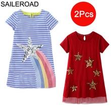 SAILEROAD 2 adet yıldız payetli yaz bebek kız giysileri hayvan aplike çocuklar kızlar için elbiseler kostüm çocuk prenses Vestido