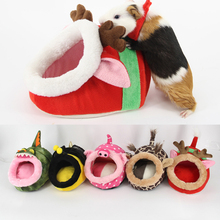 Pluszowe zwierzę domowe dom świnki morskie chomiki jeże króliki holenderskie szczury Super ciepłe wysokiej jakości śliczne ciepłe małe zwierzę łóżko chomika tanie tanio hifuar Polar dog bed house