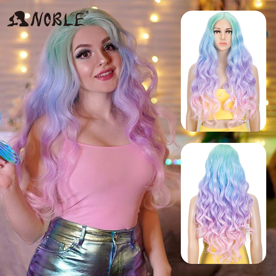 Noble Cosplay Wavy Synthetic Lace Front Wig Lace Part  Wig  Fiber Long Wigs For Wome Colored Wigs Cosplay 30 Inch Lace Front Wig