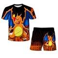 Футболка с 3D принтом Пикачу, Детская футболка с коротким рукавом, с героями мультфильмов, Покемон, оригинальная модель Juku, мода 2021 года, детс...