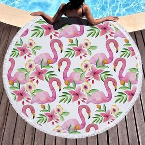 Image 2 - Пляжное полотенце с кисточкой, Цветочный Фламинго, подарок, банное полотенце для душа для взрослых, 500 г, микрофибра, 150 см, коврик для пикника и йоги, одеяло, ковер