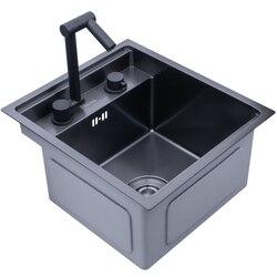 Fregadero de cocina oculto negro, barra de tazón individual, fregadero de tamaño pequeño, fregadero de acero inoxidable para balcón, fregadero de cocina negro oculto, fregadero de barra