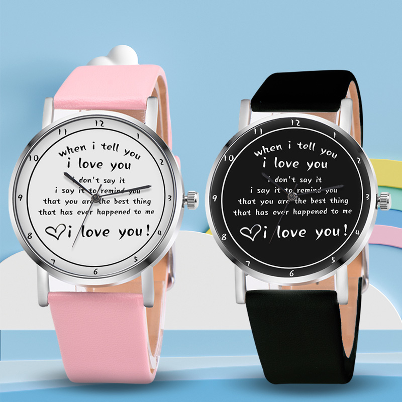 Letters Printed Watch Quartz Watch With PU Leather Strap I LOVE YOU Watch For Women Girls FS99