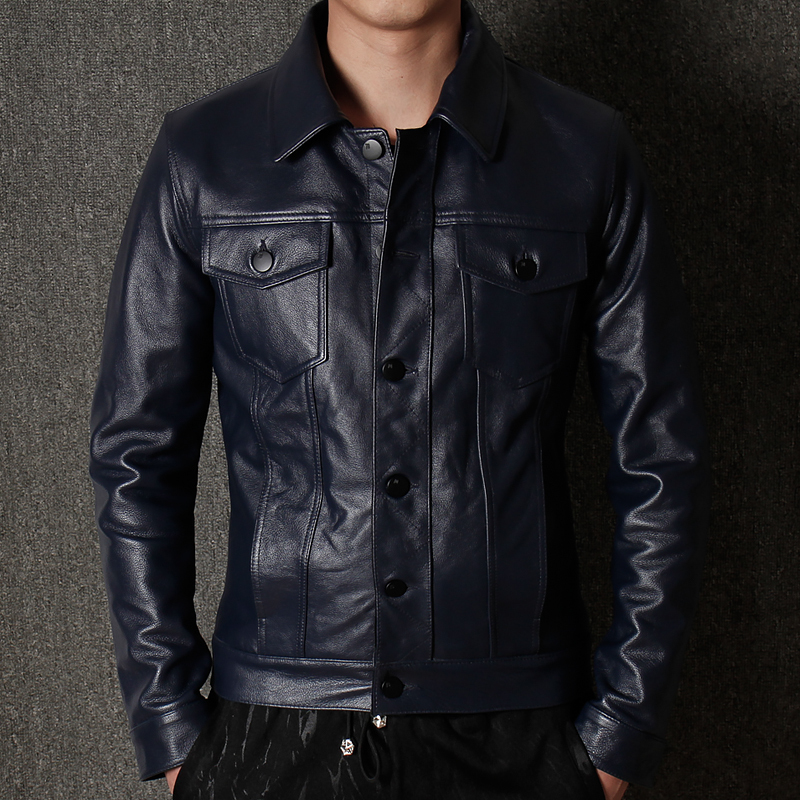 Free Shipping.sales.Man Warm Genuine Leather Jacket.cool Blue Casual Cowhide Coat.plus Size Slim Business Style Jacket.