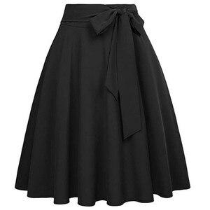Women high waist Fashion Skirt Ladys A-Line Skirt Bandage Design Flared Ruffle Midi Skirt summer kawaii solid Skirt#G30