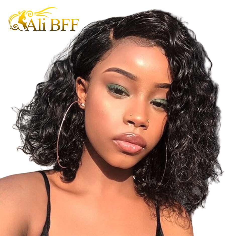13*4 Deep Part Water Wave BoB Wig Lace Front Human Hair Wigs For Women Brazilian Wigs Pre Plucked Natural Non Remy Hair Wig