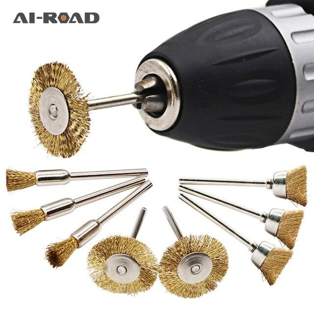 Juego de cepillos de rueda de alambre, 9 unids/lote, herramienta eléctrica rotativa para grabador