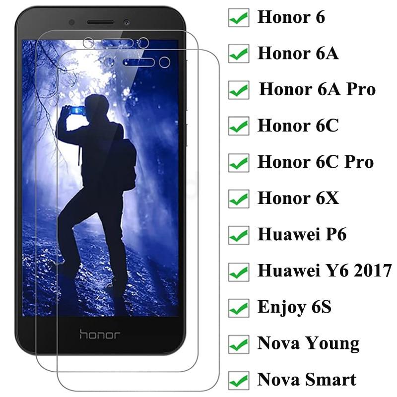 2 шт. закаленное стекло для защиты экрана для Honor 6 6A 6C Pro 6X 6 Play Защитное стекло для Huawei P6 Enjoy 6S Nova Young Smart Y6