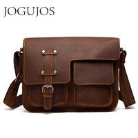 JOGUJOS Messenger Bag Men's Shoulder Bag Genuine Leather Business Handbag Crazy Horse Male Vintage Leather Crossbody Bags 6302