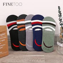FINETOO de los hombres calcetines de algodón barco antideslizante corta calcetín niño zapatilla Casual calcetines de rayas de los hombres de verano barco calcetines 1 par