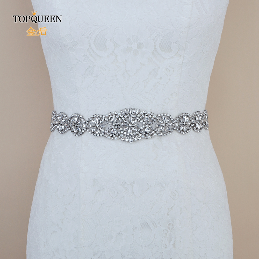 TOPQUEEN S161A 100% Pure Handmade Belt With Rhinestones Belts Girlfriend Wedding Sash And Bridal Belts Adult Bridesmaid Dress