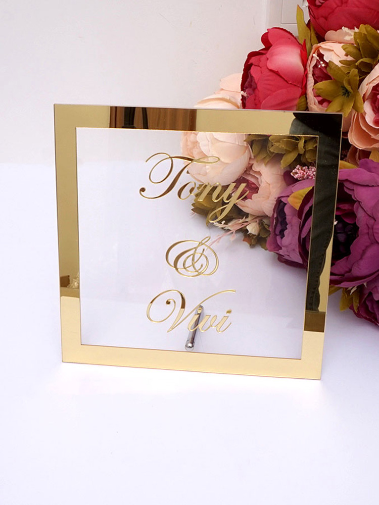 Sign-Plate Name-Mirror-Frame Groom Nail-Party-Decor-Favors Bride Wedding-Signage Acrylic