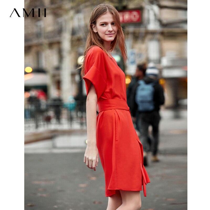 AMII 2020 Summer Chiffon Dresses Loose Women Short Sleeve Casual Straight Vintage A-Line Solid Lady Mini Dress 11940081