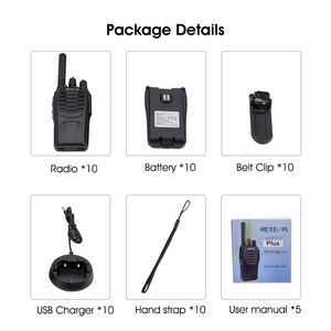 Image 5 - Retevis H777 Plus H777 Cheap Walkie Talkie 10pcs PMR Radio PMR446 FRS USB Charger Handy Two Way Radio Hotel Restaurant Warehouse