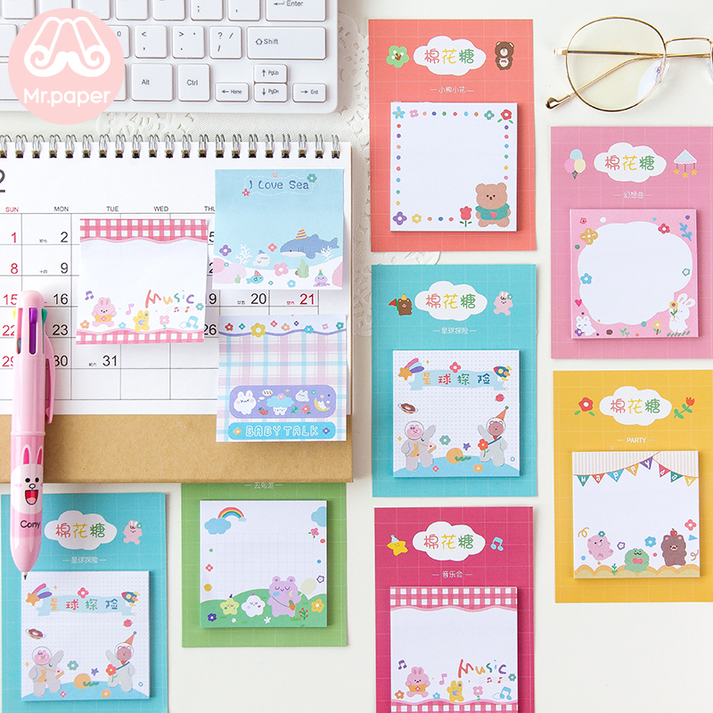 Mr Paper 30pcs/lot 8 Designs Cotton Candy Bear Rainbow Memo Pads Sticky Notes Notepad Diary Creative Self-Stick Notes Memo Pads