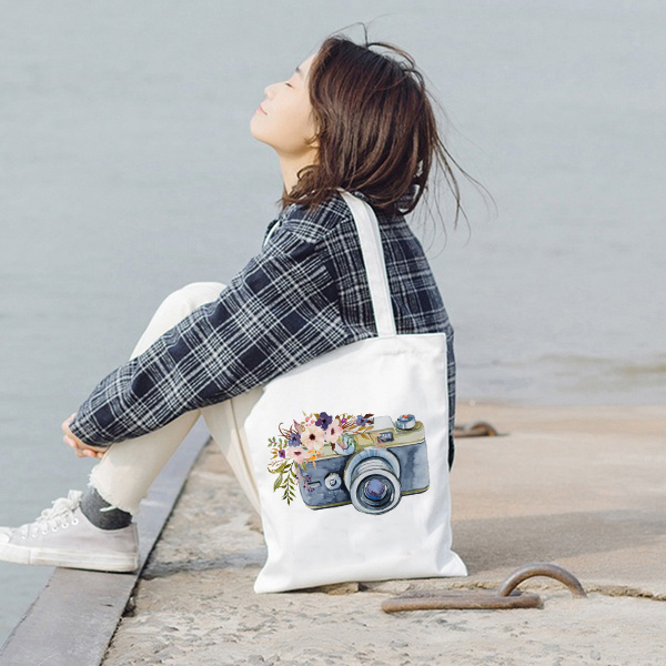 Vintage Camera Tote Bag Photographer Canvas Cloth Bags Camera Graphic Retro Lovely Handbags Shoulder Bags Totes Large Capacity