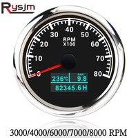 Tacómetro de 85mm 3 en 1, tacómetro marino, 8000 RPM, 7000RPM, 6000RPM, 4000RPM, impermeable, para barco, Coche