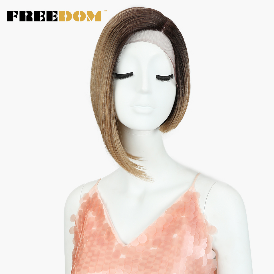 FREEDOM Straight Short Wigs Fashion Asymmetry Colorful Lace Front Wig Synthetic Hair Heat Resistant Fiber Wigs For Black Women
