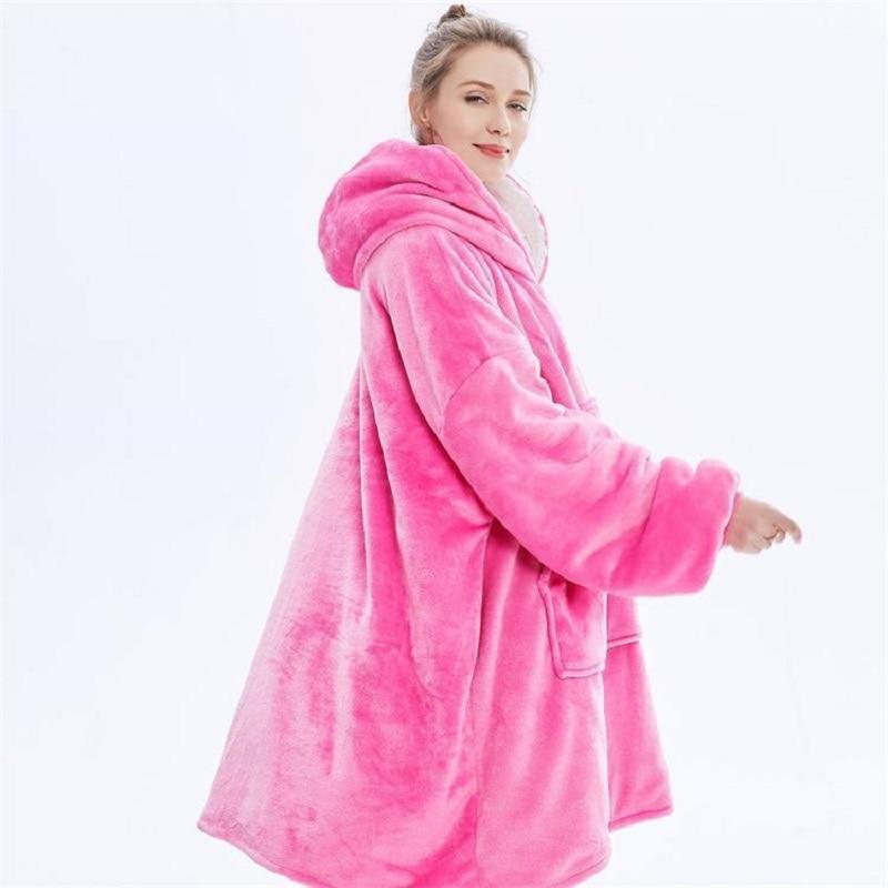 Oversized Super Plush Blanket Hoodie Outdoor Recreation Sweatshirt Fleece Hooded Blanket Soft And Warm Women Hooded Winter Blank