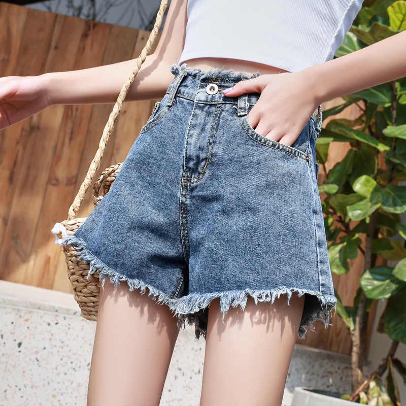 Calções de brim de cintura alta tamanho grande verão mãe quente tassel shorts solta perna streetwear jeans feminino shorts femme