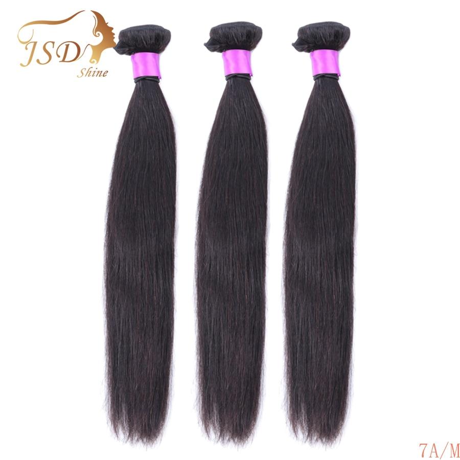 "JSDShine Straight Hair 8""-30"" Inch 7A Non-Remy 100% Human Hair Bundles Natural Color Brazilian Hair Weave Bundles Free Shipping"