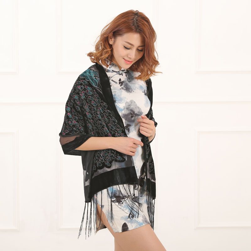 Luxury Scarf Women Designer Scarf Peacock Print Velvet Burnout Pashmina 2020 Fashion LLdies