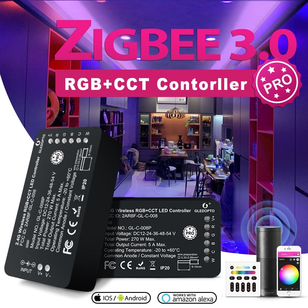 ZIGBEE LED Controller Alexa Google Voice Control for 5050 RGB+CCT RGBW Strip