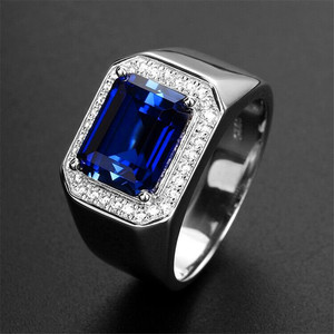Luxury Female Male Green Adjustable Ring Vintage Square Wedding Rings For Women Men Dainty Zirconia Stone Engagement Ring