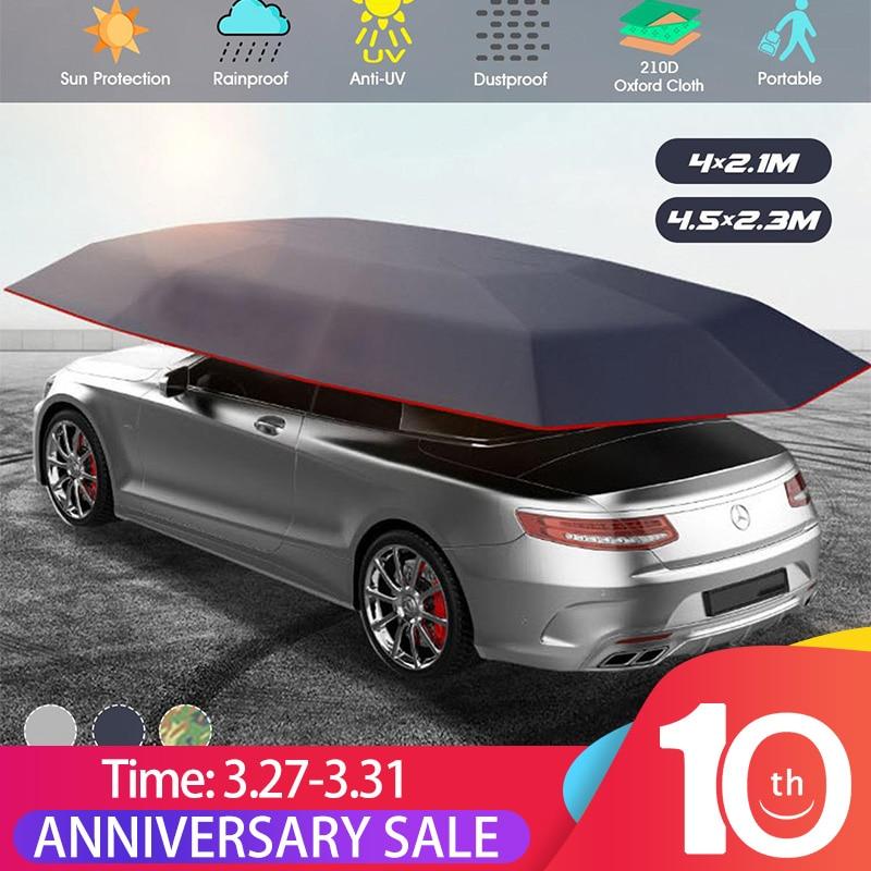 4.5x2.3M/4.2x2.1M Portable Outdoor Car Vehicle Tent Car Umbrella Sun Shade Cover Oxford Cloth Polyester Car Covers (No Bracket)