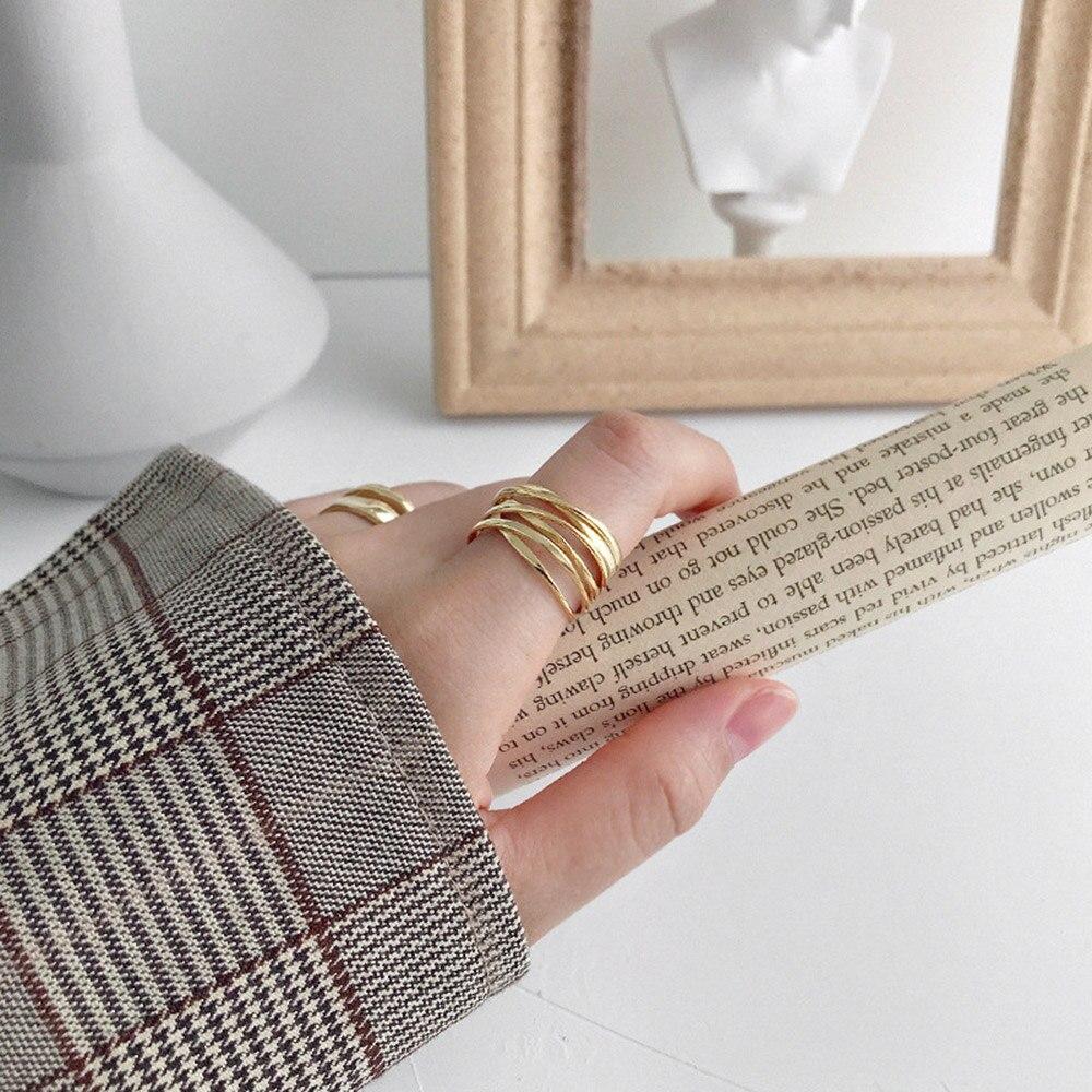 Andywen 925 en argent Sterling or ouvert croix cercle épais redimensionnable anneaux femmes mode luxe mode bijoux de mariage 6