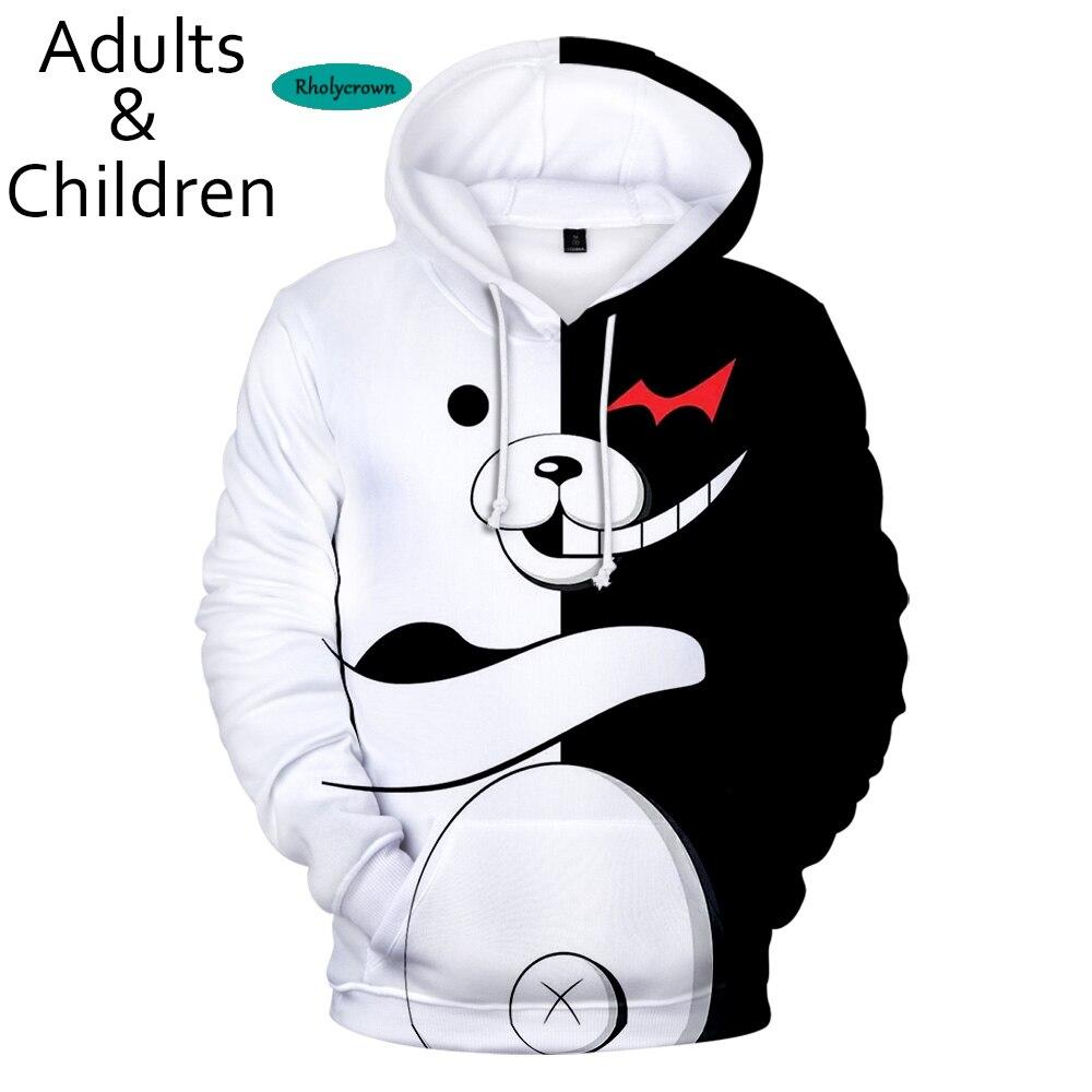 3D monokuma men and women hoodies children popular anime sweatshirt boys and girls fashion pullover autumn and winter leisure