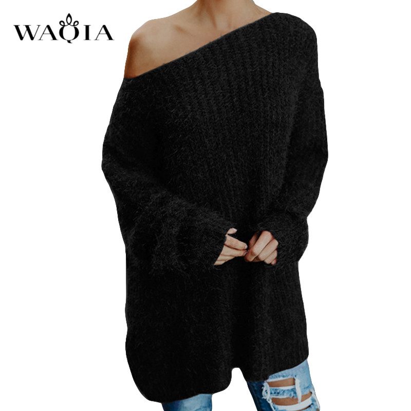 Womens off the shoulder knit pullover Autumn long sleeve Knitted Sweaters 19 Winter Tops For Women Pullover Jumper Pull Femme 3
