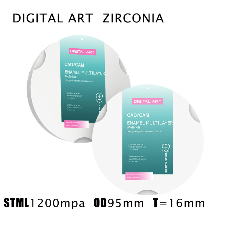 digitalart blocos de zirconia dental cad cam sistema super translucido multicamadas stml95mm16mma1 d4