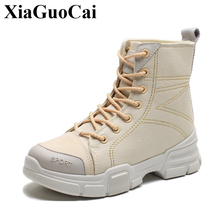 Women Ankle Boots Desert Shoes Lace-up Canvas Martin Boots with Platform Khaki Autumn Winter Combat Footwear Tooling Boots mens riding ankle boots canvas fashion autumn winter shoes two wear talent black gray khaki casual lace up male leisure boots