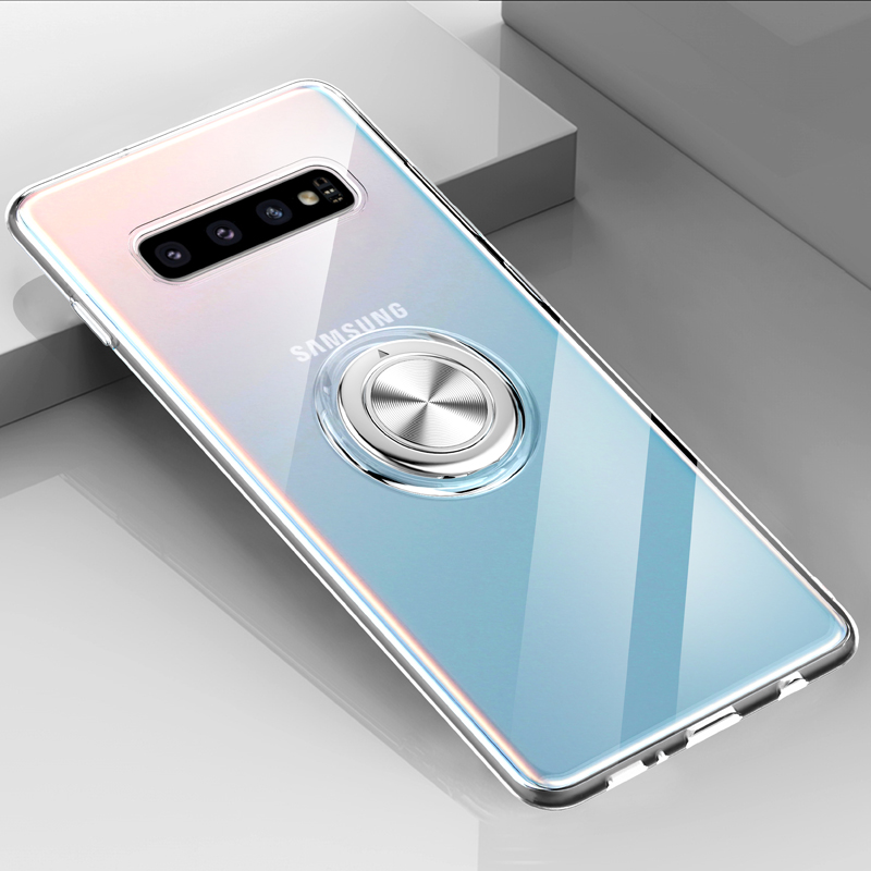 Transparent Shockproof Case For Samsung S10 5G Plus S9 S8 Silicone Armor Metal Ring Stand Cover For Samsung Galaxy S10 Plus Case in Fitted Cases from Cellphones Telecommunications