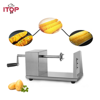 ITOP Stainless Steel Potato Spiral Slicer Manual Potato Tower Machine Potato Twisted Cutter Slicer Vegetable Tools With 2 Blades