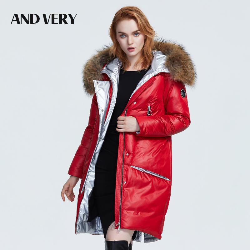 ANDVERY2019 Winter new collection women down jacket with a fur collar thick long and fashion warm winter coat for women 9601
