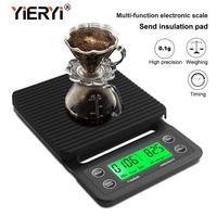 Yieryi-báscula electrónica de café para moler a mano, con banda de pesaje de 3kg/0,1g 5kg/0,1g, Digital, para contador de cocina