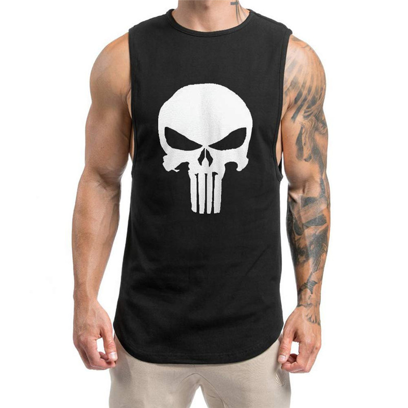 Mens Gym Spartan Grey Charcoal Warrior White print T Shirt Fitness Muscle Top