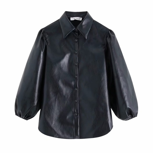 New design za PU faux leather Womens Blouses Shirts puff sleeve autumn Womens tops and blouses streetwear korean Camisa Blusas 13
